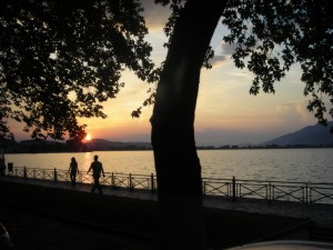 Arriving in Ioannina, Greece at sunset