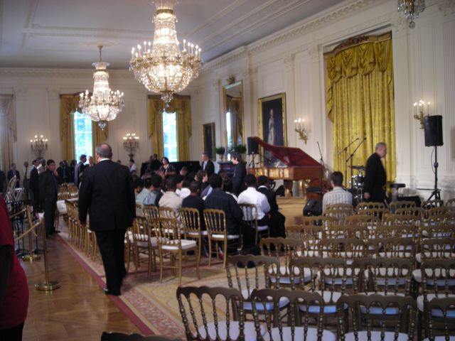 The East Room set up for White House Jazz Studio