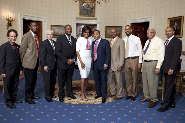 Photo courtesy of The White House. The White House Jazz Studio with education events produced by Jazz at Lincoln Center June 15, 2009 and coordinated by Erika Floreska, Director of Education, Jazz at Lincoln Center (L-R) Eli Yamin, Todd Williams, Stephen Massey, Sean Jones, First Lady Michelle Obama, Wynton Marsalis, Artistic Director, Jazz at Lincoln Center, Branford Marsalis, Jason Marsalis, Ellis Marsalis, Delfaeyo Marsalis