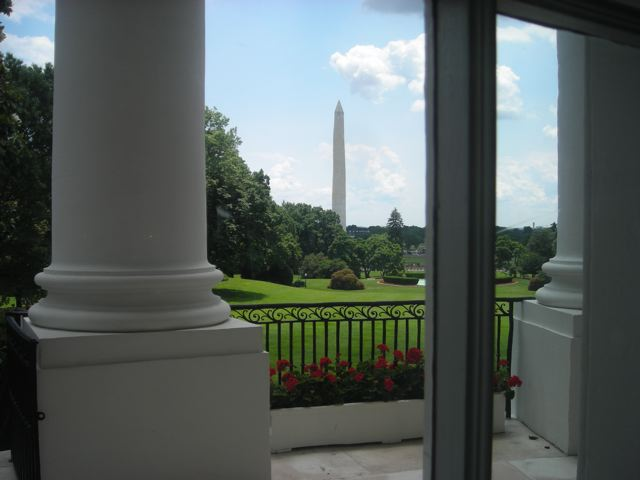 View of Washington Monument from outside the East Room