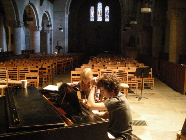 Students composing in the Chapel