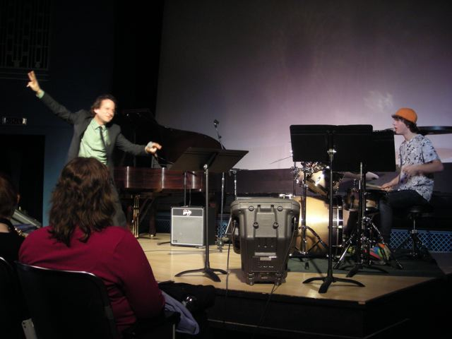 Eli Yamin flying into a workshop at Lionel Hampton Jazz Fest.