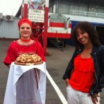 We arrived in Krasnoyarsk, Siberia early in the morning on July 1, drummer LaFrae Sci's Birthday.  She was the first of the band off the plane as received the immediate warmth and welcome of the local people.