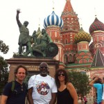 Eli Yamin, Bob Stewart, LaFrae Sci in front of St. Basil Cathedral, Red Square, Moscow